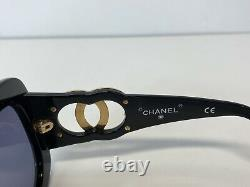 Lunettes De Soleil Rares Vtg Chanel Black Gold CC Logo