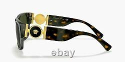 Lunettes De Soleil Versace Ve4369 108/82 Havana Frame With Green Lens Nouveau