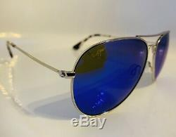 Maui Jim Mavericks Lunettes De Soleil Aviateur Mj B264-17 Bleu / Titane