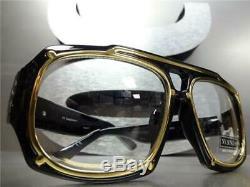 Mens Classic Vintage Style Rétro Lentille Claire Lunettes Thick Black & Gold Frame