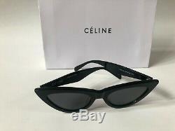 New Celine Cl40019 Cadre Noir Verres Gris Lunettes De Soleil Yeux De Chat 100% Authentiques