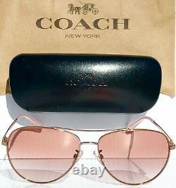 New Coach Rose Gold 58mm Aviator W Rose Gradient Femmes Sunglass L1085 Hc7099