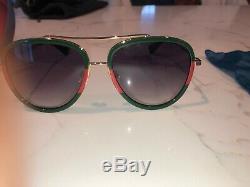 New Gucci Lunettes De Soleil Gg0062s 003 Gold / Green Gradient Lens