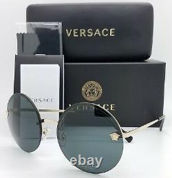 New Versace Lunettes De Soleil Ve2176 125287 59mm Gold Grey Authentic Rimless Round 2176