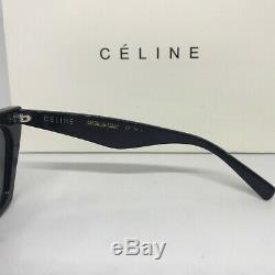 Nouveau Authentique Celine Edge CL 41468 / S Black Cat Eye Acétate Lunettes De Soleil Femmes