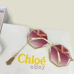 97b20586129de Nouveau Authentique Chloe Poppy Gold Havana   Gradient Rose Octagonal  Femmes Lunettes De Soleil