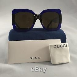 Nouveau Authentique Gucci Gg0083s 003 Bleu Tortoise 55mm Oversize Femmes Lunettes De Soleil