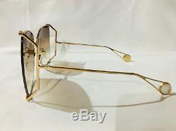 Nouveau Authentique Gucci Gg0252s 001 Gold Frame Brown Objectif Lunettes