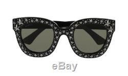 Nouveau Authentiques Lunettes De Soleil Gucci Gg116s Femmes Black Bling Star Frames Gris