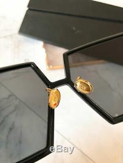 Nouveau Christian Dior Oversize Lunettes De Soleil Carrées 30montaigne 8072k Noir / Or Femmes