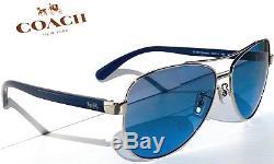 Nouveau Coach Hc7077 Argent & Bleu 58mm Aviateur Bleu Lentille De Soleil L1015