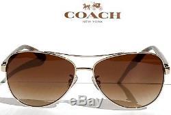 Nouveau Coach Hc7077 Or Tortoise 58mm Aviateur Brun Gradient Lentille De Soleil L1015