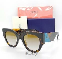 Nouveau Fendi Lunettes De Soleil Ff 0264 / S 0086 51mm Tortue Miroir Bleu Or Authentique