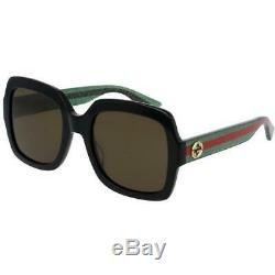 Nouveau Gucci 54mm Black Frame Verres Marron Lunettes De Soleil Pour Femmes Gg0036s-002