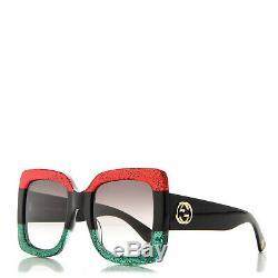 Nouveau Gucci Gg0083s 001 Glitter Rouge Vert Cadre Carré Gris Femmes Lunettes De Soleil