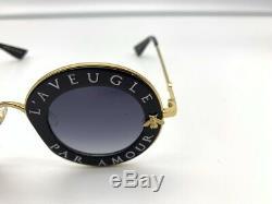 Nouveau Gucci Gg0113s Laveugle Par Amour Noir Or Gris Lunettes De Soleil Ronde Femmes