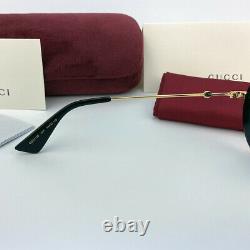 Nouveau Gucci Gg0113s Soave Amore Or Noir / Lunettes Rondes Grises Lunettes Femmes
