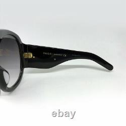 Nouveau Gucci Gg0152s Noir / Gris Femmes Acétate Lunettes De Soleil Surdimensionnées
