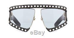 Nouveau Gucci Gg0234s 001 Lunettes De Soleil Femme Oversize Noires Avec Perles