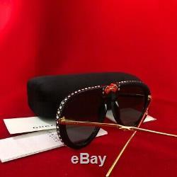 Nouveau Gucci Gg0307s 001 Gris Pilot Pliable Ladies Lunettes De Soleil Cristaux Gravés
