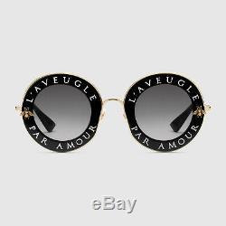 Nouveau Gucci Lunettes De Soleil Femmes Authentiques De Gg0113s L'aveugle Par Amour Noir Or