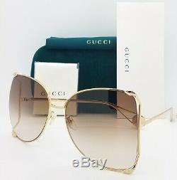 Nouveau Gucci Lunettes De Soleil Papillon Gg0252s 003 63 Or Brun Dégradé 252s Authentique