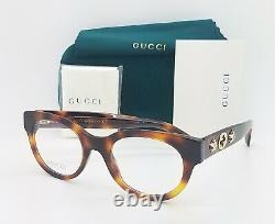 Nouveau Gucci Rx Frame Round Glasses Havana Gold Gg0209o 002 48mm Authentic Stars