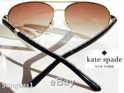 Nouveau Kate Spade Aviateur Argent Noir W Bronze Gradient Lens Blossom Lunettes De Soleil