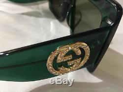 Nouveau Lunettes De Soleil Authentiques Gucci Gg0145s Cadres Verts Verres Gris Surdimensionnés