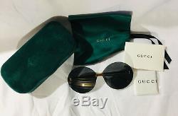 Nouveau Lunettes De Soleil Authentiques Gucci Gg0353s Pour Femmes Surdimensionné Gris