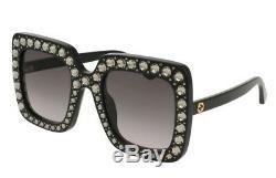 Nouveau Lunettes De Soleil Authentiques Gucci Gg148s 001 Black Oversized Square