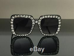 Nouveau Lunettes De Soleil Authentiques Gucci Gg148s 003 Noir Carrées Surdimensionnées Cristal