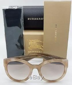Nouveau Lunettes De Soleil Burberry Be4260 369194 54mm Tan Brown Gold Large Round Authentic