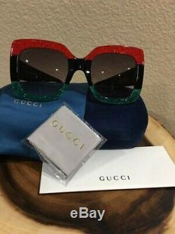 Nouveau Lunettes De Soleil Carrées Oversize Gucci À Gradient Superposées, Rouge / Noir / Gris