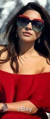 Nouveau Lunettes De Soleil Carrées Surdimensionnées Brillantes À Gradient Dégradé Scintillantes Gucci, Rouge / Blk / Grn