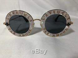 Nouveau Lunettes De Soleil Rondes Authentiques Gucci Gg0113s L'aveugle Par Amour Grey Lens