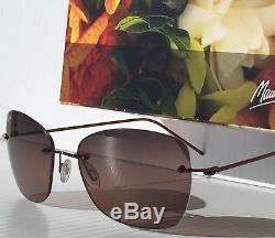 Nouveau Maui Jim Apapane Sunglass Rs717-07 Pour Femmes À Monture Polarized Sans Monture Et Verres Roses