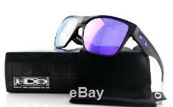 Nouveau Oakley 2 Two Face XL Noir Brillant Violet Iridium Lunettes De Soleil Oo 9350-04