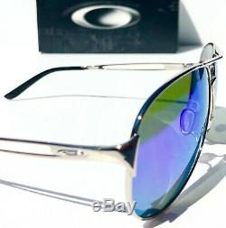 Nouveau Oakley Caveat Argent Polarises Femmes Sapphire 60mm Aviator Sunglass 4054