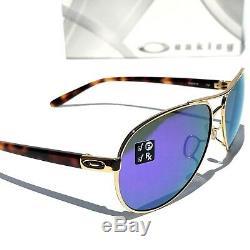 Nouveau Oakley Feedback Gold Tort Aviator Polarisé Violet Lunettes De Soleil Pour Femmes 4079-18
