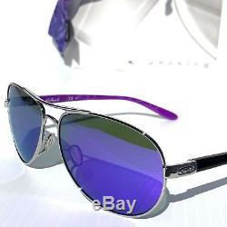 Nouveau Oakley Feedback Silver Lunettes De Soleil 4079-23 Pour Femmes, Aviateur Polarisé Violet