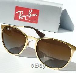 Nouveau Ray Ban Erika Matte Gold W Lunettes De Soleil Rb 3539 Pour Femmes À Verres Bruns Foncés