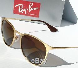 Nouveau Ray Ban Erika Matte Gold W Lunettes De Soleil Rb 3539 Pour Femmes À Verres Marron