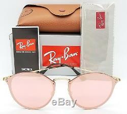 Nouveau Rayban Ronde Blaze Lunettes De Soleil Rb3574n 001 / E4 59mm Or Rose Miroir Authentique