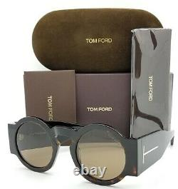 Nouveau Tom Ford Tatiana-02 Lunettes De Soleil Ft0603 / S 52j 47mm Havana Brown Round Authentique
