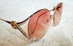 Nouveaux Authentiques Gucci Gg0225s 005 Or Rose Lunettes De Soleil Oversize Femme