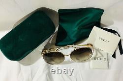 Nouvelle Authentique Gucci Gg0225s 002 Lunettes De Soleil Femme Oversize Or