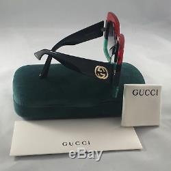 Nouvelles Lunettes De Soleil 55mm Lentilles De Dégradé Authentiques Gucci Gg0083s 001 Rouge-vert Noir
