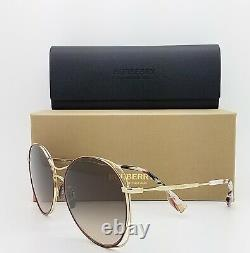 Nouvelles Lunettes De Soleil Burberry Be3105 101713 60mm Gold Brown Gradient Authentic Round