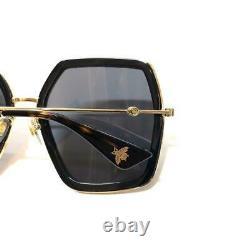 Nouvelles Lunettes De Soleil Gucci Authentiques Gg 0106s 001 Black Gold Hexagonal Women Oversized